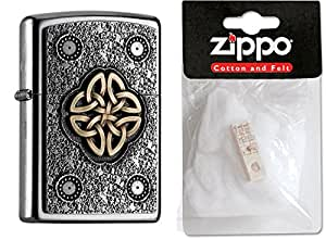 Zippo briquet 15474 celtic knot plus de rechange, ouates, collection 2016, article numéro 2.004.750.2, (chromé)