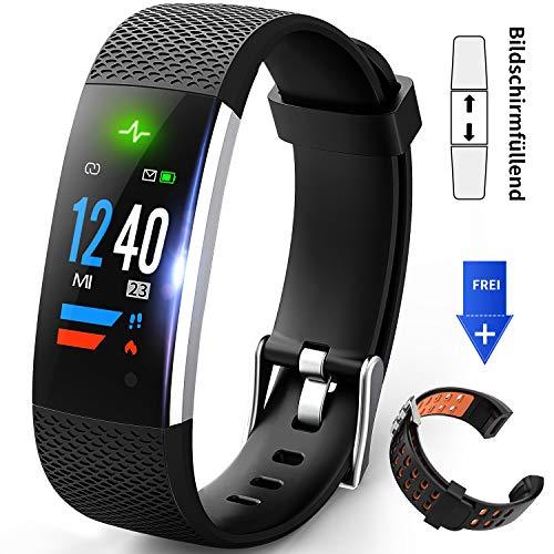 HONGDAK Fitness Armband, Aktivitätstracker Wasserdicht IP67 Fitness Tracker mit Orange Austauschbares Armband Schrittzähler Uhr mit Pulsmesser Farbbildschirm Stoppuhr für Damen Herr Kinder