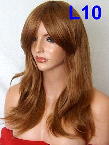 Perücke Fashion Rahmen Gesicht Wellig Flick natürlich Party Hitzeresistente Synthetik Hair Wig Auburn Ginger Mix Full Head Perücke L10 (Sexy Glamour Perücke In Auburn)