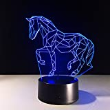 Leisurely Lazy Running Horse 3D Optical Illusion LED Lamp Creative 7 Colors Changing Touch Button and 15 Keys Remote Control Art Sculpture Table Desk Night Light