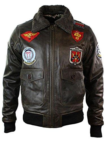 Blouson homme cuir véritable style aviateur bomber US Airforce avec badges et col en fourrure