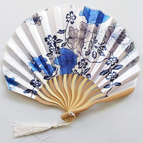 Blaue Seide Shell (Folding Fan Seide Holz- Chinesischen Stil Klassische High-End Geschenk Kreativ Shell Fan Handwerk Ventilator Dekoration Tanz Sommer Kühl Portable Weiblichen Täglichen Ventilator Blau Und Weiß Porz)
