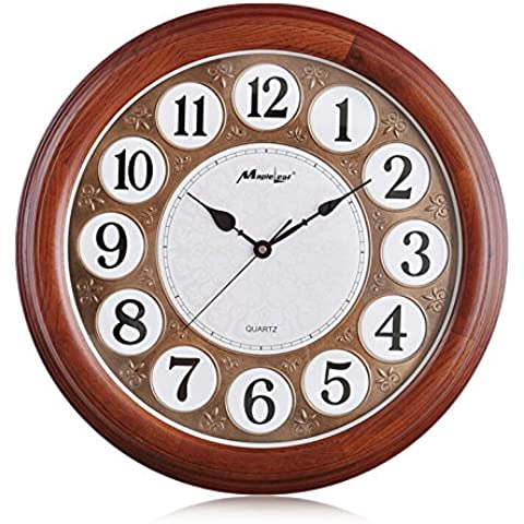 NooLom Reloj de pared de madera de roble salón de estilo europeo creativo gráfico de pared de madera maciza de relojes de lujo reloj de cuarzo de silencio,