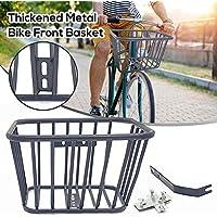 cheerfulus-1 Cesta de Bicicleta de Metal de Alambre, Cesta de Bicicleta de Manillar Frontal extraíble, Cesta de Bicicleta de Metal Grueso - Negro, 10x7x6 Pulgadas