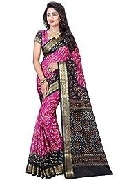 VK Prints Bandhani Saree With Blouse Piece - Black & Pink