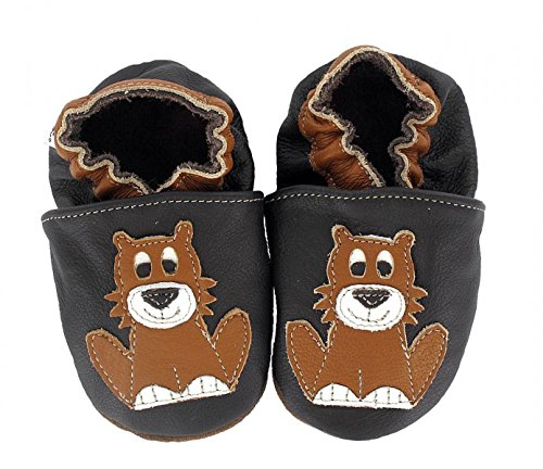 HOBEA-Germany Krabbelschuhe in verschiedenen Farben und Designs mit Tieren , Schuhgröße:20/21 (12-18 Monate);Modell Schuhe:Waschbär Löwe Leo