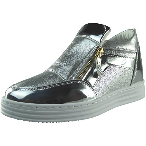 Womens Ladies Zip Flat Shiny Sneakers HiTop Flat Ankle Boots Shoes Trainers Size 3-8 Silver