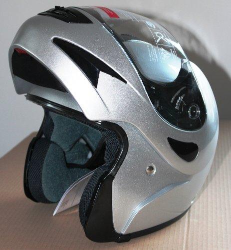 KLAPPHELM L Motorrad L Silber-anthrazit + extra Visier klar Grösse Large Roller Flip Sonnenvisier Blende optional