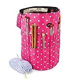 Bolsa cubo de tejer, organiza y almacena tus accesorios y agujas, color rosa con lunares