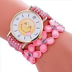 Longra Reloj ♥Reloj De Pulsera De Señora, Moda Y Cute Emoji Patrón De Pulsera De Cuero De Cristal (Rosado)