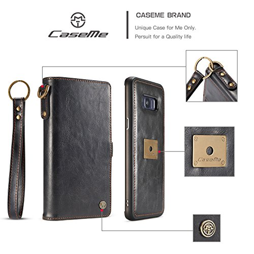 Wkae CaseMe Wallet Case [Retro Style] [Handgelenkschlaufe] Für Samsung Galaxy S8 + / s8 plus Card Case (2017) Premium Schützende PU Leder Flip Magnetic Cover ( Color : Brown ) Black