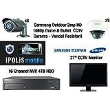 """Samsung 2MP 1080p 8x Bullet & 8x Dome Cameras + 4TB 16CH NVR + 27 """"CCTV Monitor - Full HD Vandal résistant et résistant aux intempéries CCTV Surveillance Kit"""