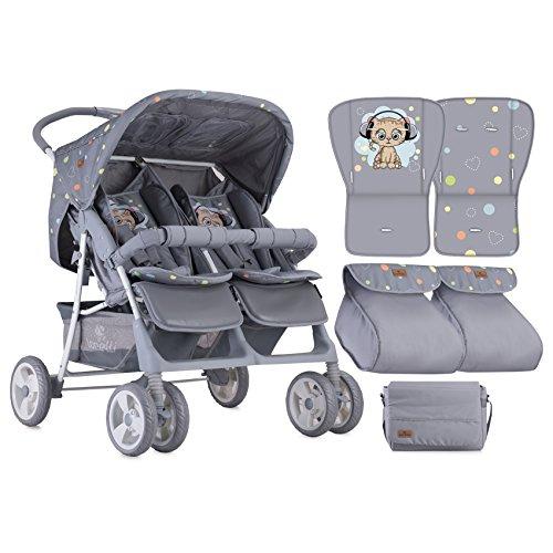 Lorelli Zwillingskinderwagen TWIN Einhand-Klappsystem, Wickeltasche Fußabdeckung grau/katze