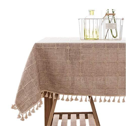 Baumwolle Plaid Khaki (BJYG Tischdecke Restaurant Nordic Home Baumwolle Leinen Rechteckige Quaste Plaid Tischdecke Für Esszimmer Küche Tischdecke Dekoration (Farbe: Khaki, Größe: 52 'x 70'))