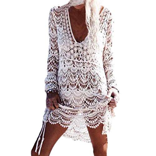 Bekleidung Longra Damen Transparent V Kragen Spitze hohl Bikini vertuschen Bademode Beach Kleid Beach Sonnenschutz-Shirt sommerkleider White