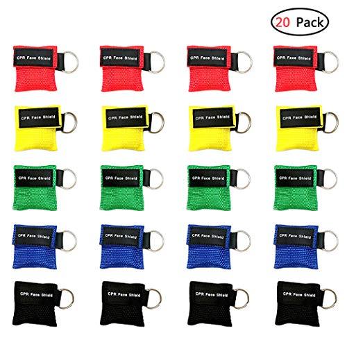 Aoutacc 20pcs CPR Face Shield Mask, Schlüsselbund Maske Einweg-Notfall-Kit CPR Face Shields Taschenmaske für Erste-Hilfe-Herz-Wiederbelebungstraining