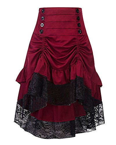 Yonglan Mujer Vintage Plisada Faldas Punk Rock Gótico Faldas De Encaje Asimétrico Falda Vino Rojo S