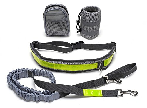 Hands Free Running Dog Lead/ Adjustable Waist Lead with pouch,Dog Bungee Canicross Walking Belt jogging Hiking leash