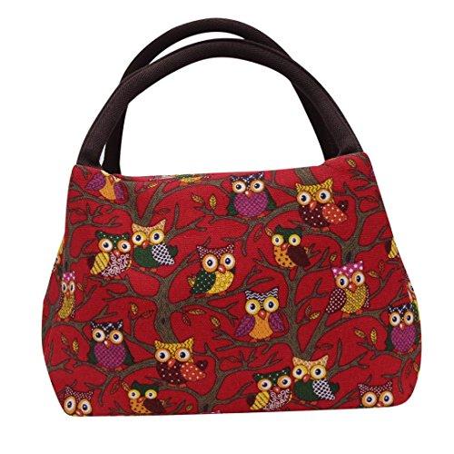Coloré(TM) Sac Repas Lunch Bag Sac à Déjeuner Isotherme Sac de pique-nique fourre-tout thermique isotherme de hibou Sac de sac à main de glacière de sac frais de sac (Rouge)