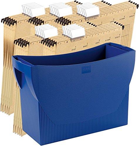 HAN Hängemappenbox SWING, Das mobile Büro. Innovatives Design für 20 Hängemappen, integrierter Köcher (Blau + 25 Mappen)