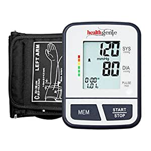 Healthgenie Digital Upper Arm Talking Blood Pressure Monitor (BP Monitor) BPM02T Fully Automatic   Irregular Heartbeat Detector   Batteries Included   2 Year Warranty