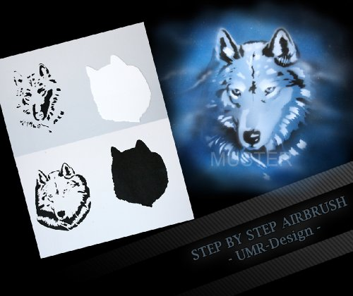 Step by Step Airbrush Schablone Wolf AS-086