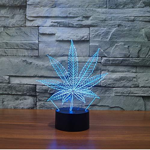 Illusion-Lampe des Topf-Blatt-3D Cananbis Unkraut-optisches visuelles Nachtlicht-Raum-Partei-Deko-Beleuchtung