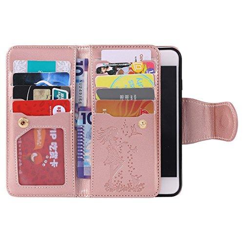iPhone Case Cover Fleurs pressées Fille gaufrée et Housse en cuir Motif Cat PU Avec Dragonne & 9 Card Slot Cadre photo pour IPhone 7 4.7 pouces ( Color : Gold , Size : IPhone 7 4.7 Inch ) Gold