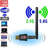 elegantstunning 600Mbps Wireless USB WiFi Network Adapter Dongle Dual Band 2.4G/5.8Ghz with Antenna -for ConsumerElectronics