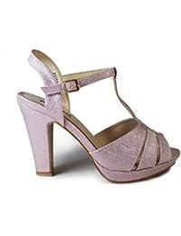 La Valenciana Elegante Sandalia con Tacón Benini A8039 Para Mujer. Color Rosa, Cierre EN Hebilla