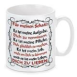 Herzbotschaft Tasse mit Motiv Modell Es ist Mein Leben Dich zu lieben, Keramik, Weiß, 11 x 11 x 11 cm