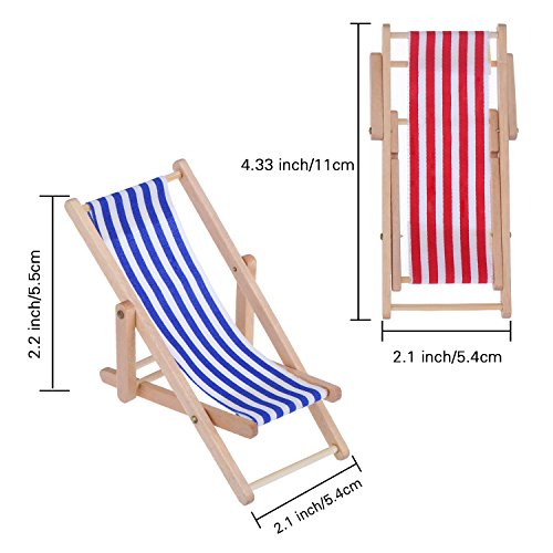 2 Pieces 1:12 Miniature Foldable Wooden Beach Chair Chaise Longue Deck Chair Mini Furniture Accessories with Red/ Blue Stripe for Indoor Outdoor