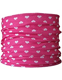 Multifunctional Headwear (CHILD SIZE) Pink with White Hearts