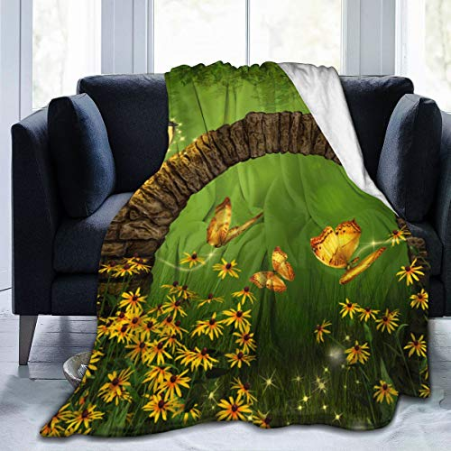 dfegyfr Blankets Beautiful Fairy Tale Scene Flannel Throw Blanket Bed Blanket as Bedspread/Coverlet/Bed Cover Soft, Lightweight, Warm and Cozy