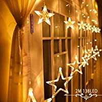 Avoalre Star Curtain Lights, 2M/6.6ft Fairy String Lights with 12 Stars 138pcs LED IP44 8 Flash Modes Decorative Lamp Strips for Christmas/Wedding/Party and Other Festival (Warm White)
