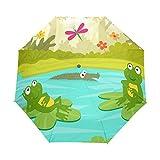 BENNIGIRY Dos Ranas Bonitas Están sentadas en lirios de agua 3 pliegues paraguas de cierre...
