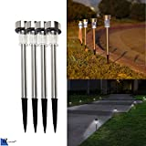 #7: Ascension ® Solar LED Rod Light For Garden White WaterproofAuto on/off (Pack of 4)
