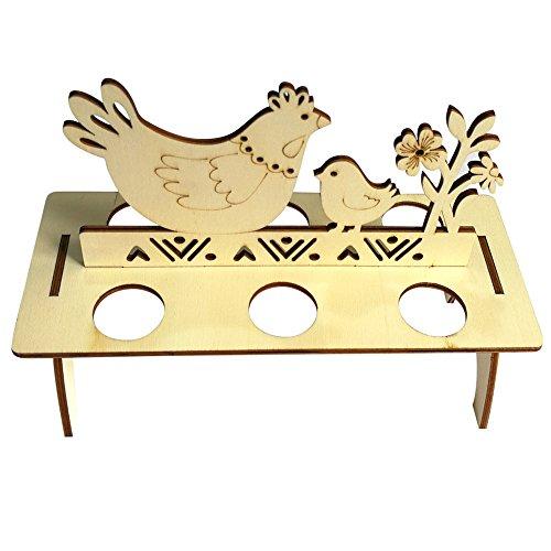 (Ostern Beste Wohnkultur !!! Beisoug Niedlichen Kaninchen Hahn Holz Kreative Osterei Regale für Kinder Bunny Hen Muster Tragen Halten Eier (20,9x12x16 cm))