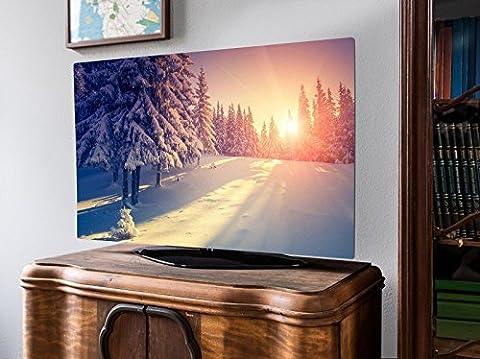 screencover - Abdeckung für Ihren Flatscreen, alle Zollgrößen möglich, Material Hartschaum weiß, mit Motiv Winterabend, Größe 32'' TV (83cm x 51cm)