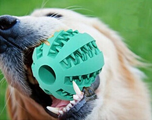 Pet-Dog-Toy-Ball-Nature-Rubber-Bouncy-Toy-Ball-for-Dogs-Dog-Food-Treat-Feeder-Tooth-Cleaning-Ball-for-Pet-Training-Playing-Chewing-Bite-Resistant-Pet-Exercise-Game-Ball-Blue