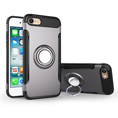 UKDANDANWEI Apple iPhone 7 Hülle mit 360 Grad Full Body Ring Ständer, Hybrid Dual Layer Defender Handyhülle Case [Shock Proof] für Apple iPhone 7 - Roségold Grau
