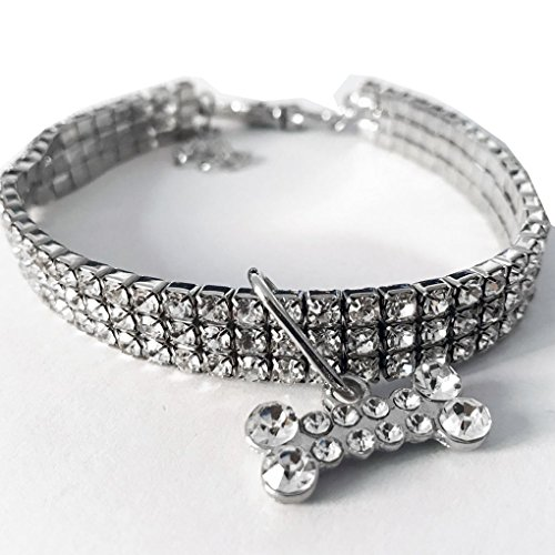 Zerama Bling Kristallkatzenhalsband Metalljustierbarer Welpen Glänzende Rhinestone-weiche Halsbänder Tierbedarf für Small Medium Hunde