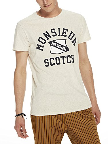 Scotch & Soda Herren Logo Artwork T-Shirt Beige (Ecru Melange 0171)