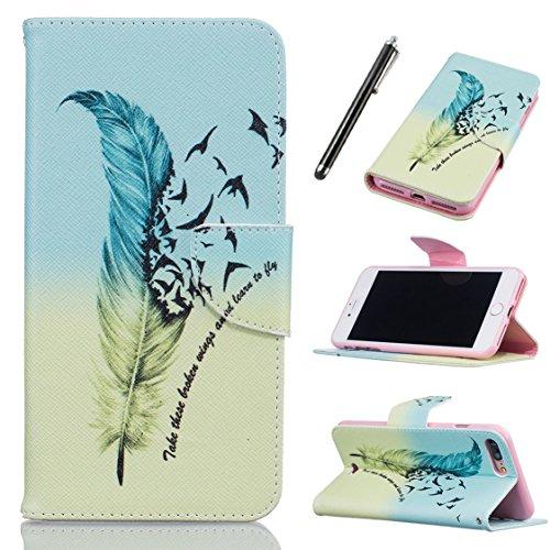 AYASHO® iPhone 7 Wallet Tasche Hülle - Ledertasche im Bookstyle - [Ultra Slim][Card Slot][Handyhülle] Flip Wallet Case Etui für Apple iPhone 7 (4,7 Zoll) - D04 D14
