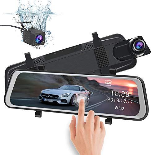 """AWESAFE Rückspiegel Kamera Dual Autokamera 1080P 10"""" FHD Touchscreen 170° Weitwinkel mit Nachtsicht, Parkmodus, Bewegungserkennung,Loop-Aufnahme, G-Sensor"""