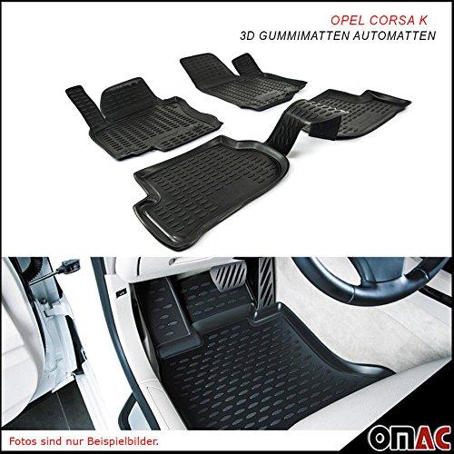 Omac GmbH Allwetter Auto Hohe 3D Gummimatten Fußmatten für Astra K 2015-2019 Automatten Schwarz 4 Teilig