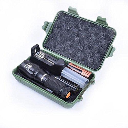 LED taktische Taschenlampe, Ulanda-EU hellste Zoomable Taschenlampe Wasserdichte Taschenlampe 3000 Lumen, tragbare LED Military Taschenlampe mit 5 Lichtmodi Wiederaufladbare 26650 Akku, Ladegerät