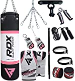 RDX Donna Sacco da Boxe Pieno Arti Marziali MMA Rosa Sacchi Pugilato Kick Boxing Muay Thai con Guantoni Allenamento Catena Gancio Soffitto Women 13PC Punching Bag Set 4FT