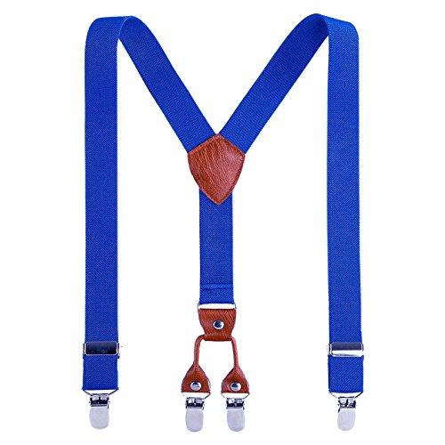 Kinder Klammern Clip auf Hosenträger - Getreide Leder Elastisch Einstellbar Mit 4 Clips Y Form - Kinder Für Große Hosenträger