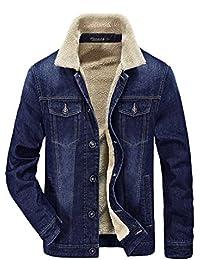 Zicac Men Military Slim Fit Denim Jacket Long Sleeve Warm Lining Cowboy Parka Coat Blazer Outerwear Multi Pockets